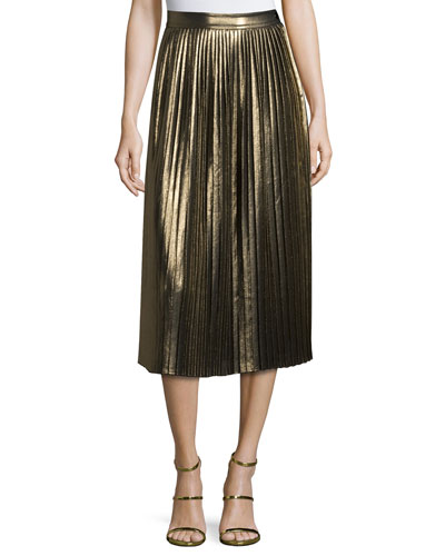 Lucy Pleated Lamé Midi Skirt, Gold