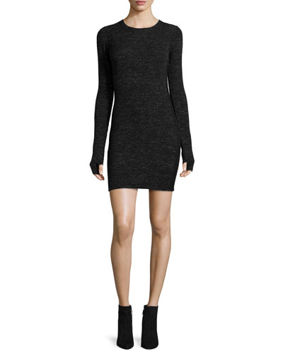 The Melange Sweaterdress, Black/Gray