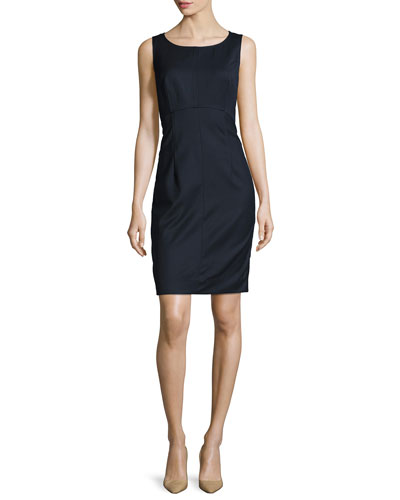 Sleeveless Stretch-Wool Gabardine Sheath Dress, Navy