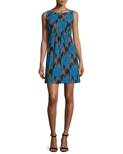 Lyla Sleeveless Chevron-Print Dress, Azure