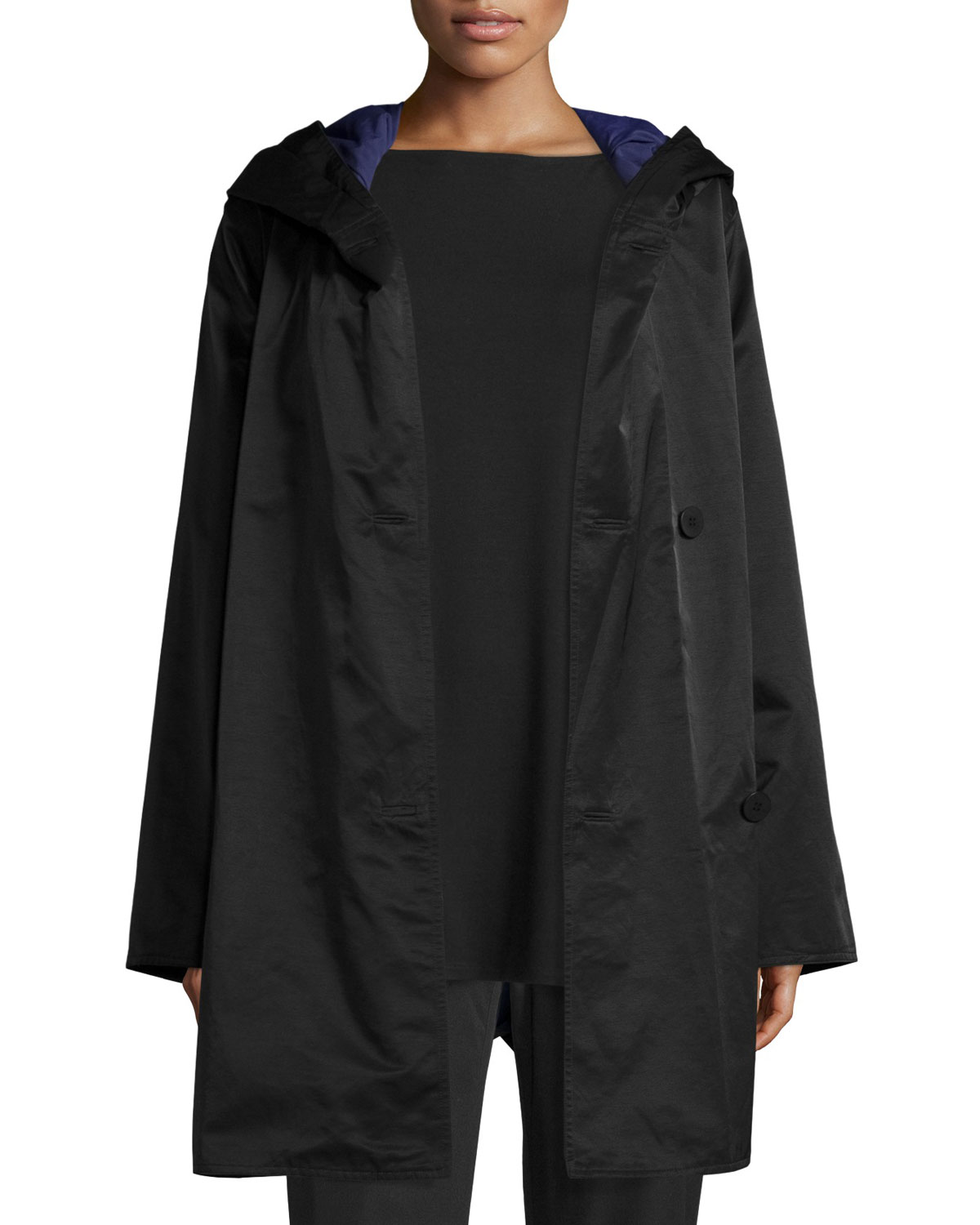 Reversible Hooded Raincoat w/ Sheen