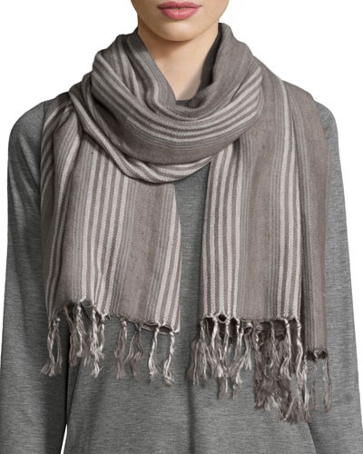 Blanket Striped Serape Scarf, Ash