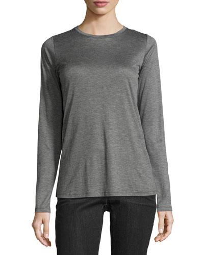 Drapey Tencel® Long-Sleeve Long Lean Top, Ash
