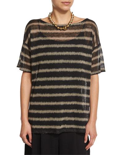 Short-Sleeve Painterly Striped Linen Top