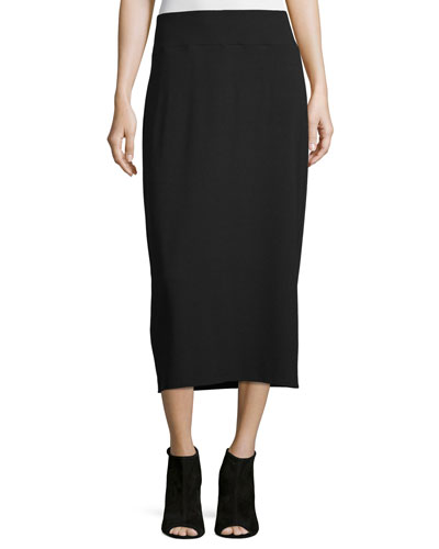 Straight Jersey Midi Skirt, Plus Size