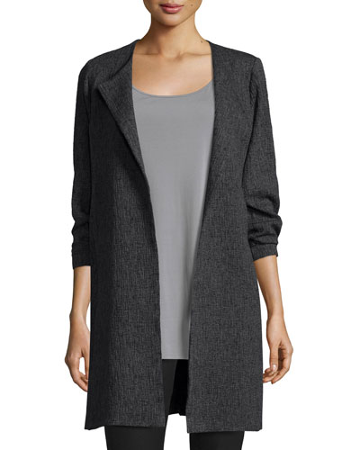 3/4-Sleeve Shale Jacquard Jacket, Charcoal