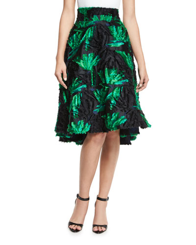 High-Waist Floral Leaf Skirt, Green/Black