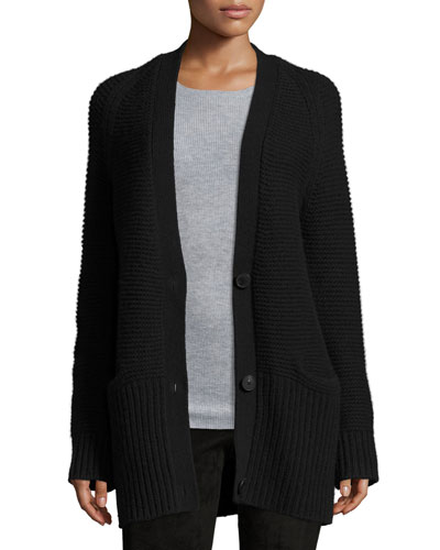 Chunky Wool-Cashmere Cardigan, Black