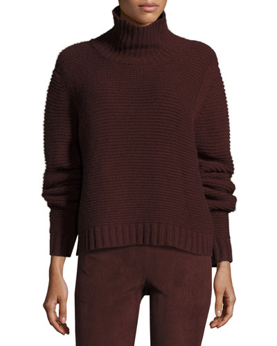 Chunky Cowl-Neck Sweater, Cordovan