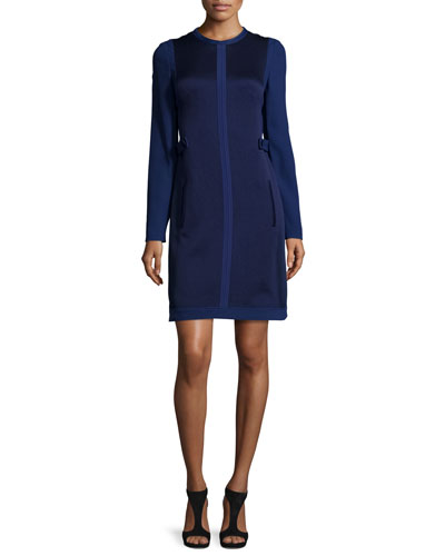 Long-Sleeve Two-Tone Sheath Dress, Navy