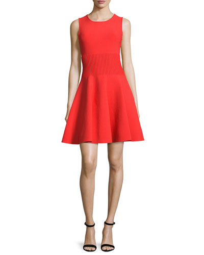 Sleeveless Structured Fit-&-Flare Dress, Flame