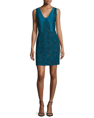 Bicolor Lace Paneled Sheath Dress