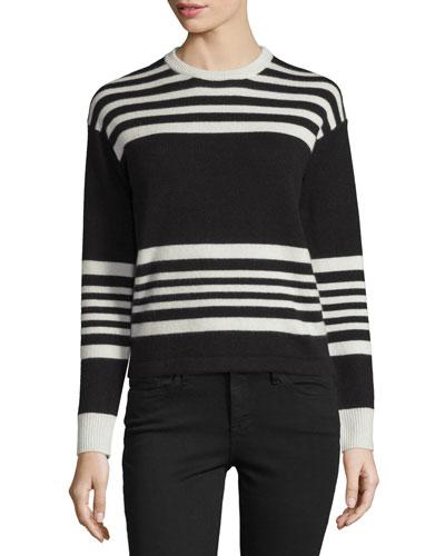 Cashmere Crewneck Sweater, Bone & Noir Sculpture Stripe