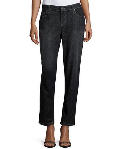 Slim-Leg Cropped Boyfriend Jeans, Vintage Black