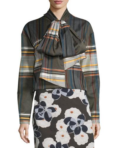 Wool-Blend Plaid Tie-Neck Shirt, Brown/Multicolor