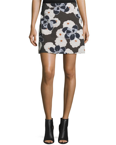 Floral A-Line Mini Skirt, Brown