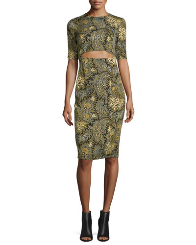 Short-Sleeve Paisley Stretch Silk Dress, Green