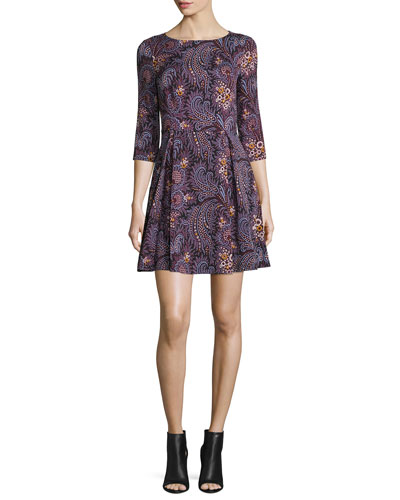 3/4-Sleeve Paisley Fit-and-Flare Dress, Wine
