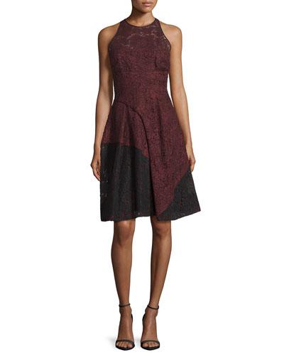 Colorblock Lace Halter Dress, Vin/Noir