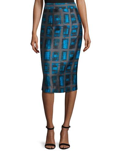 Brushstroke Rectangle-Print Pencil Skirt, Azure