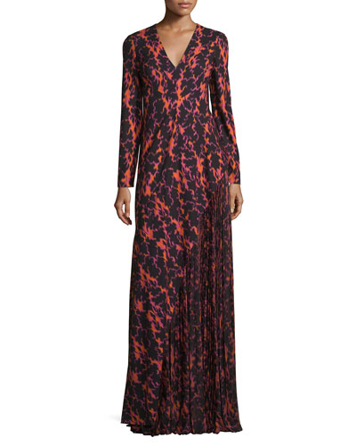 Ikat Printed Pleated-Inset Gown