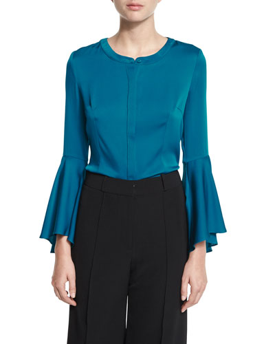Ruthie Bell-Sleeve Stretch-Silk Crepe Blouse, Azure