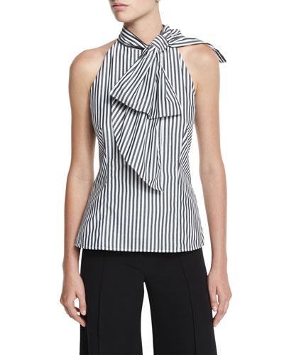 Striped Shirting Halter Top, Black
