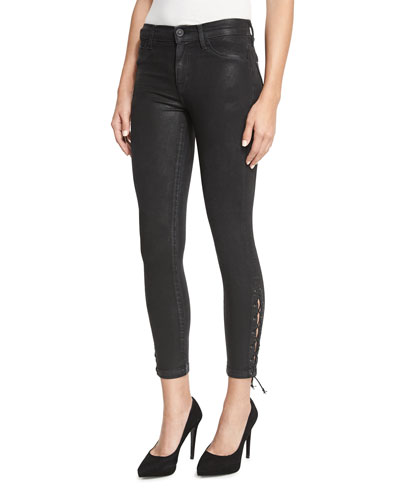 Nix Coated Lace-Up Cropped Jeans, Black