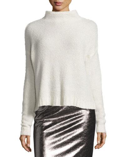 Cashmere Cloud Mock-Neck Pullover, White