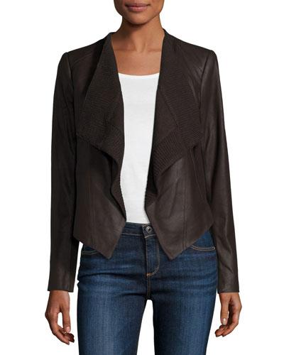 Draped Goatskin Leather Easy Jacket, Chocolate Brown