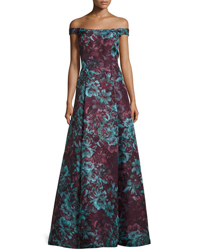 Floral Off-the-Shoulder Ball Gown, Burgundy