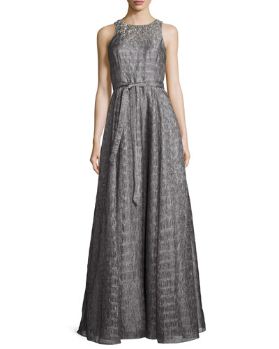 Sleeveless Embellished Metallic Organza Gown, Smoke