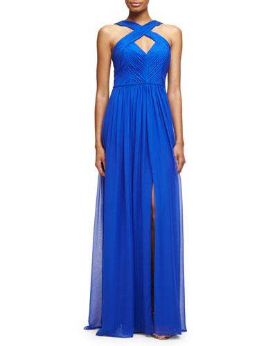 Ruched Silk Chiffon Keyhole Gown, Cobalt