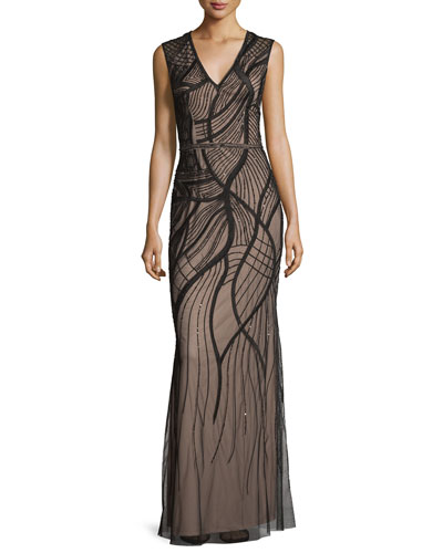 Sleeveless Embroidered Mesh Column Gown, Black/Light Mink