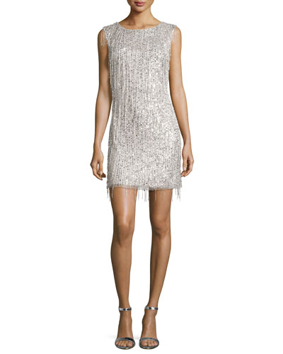 Sleeveless Beaded Fringe Cocktail Dress, Silver
