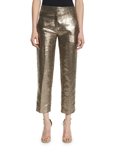 Sequined Flat-Front Cropped Trousers, Rye