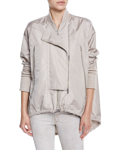 Nylon High-Low Anorak Jacket, Ginger Frost