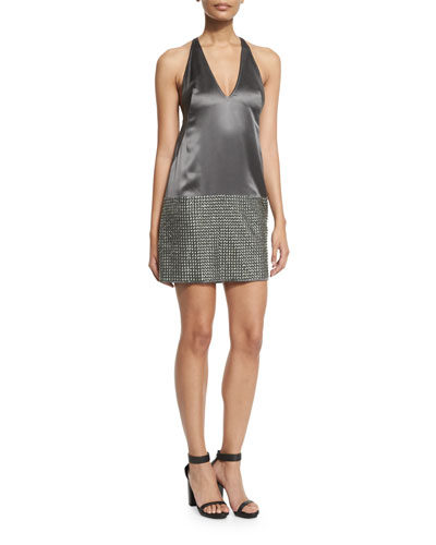 Studded Sleeveless V-Neck Cocktail Dress, Charcoal