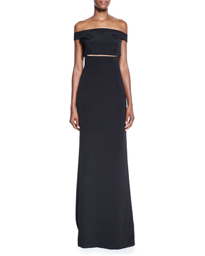 Off-the-Shoulder Slit-Waist Gown, Black
