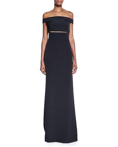Off-the-Shoulder Slit-Waist Gown, Black