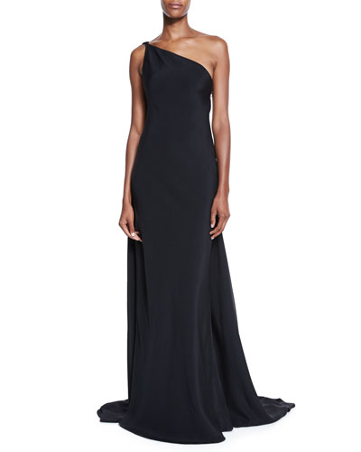 One-Shoulder Draped Strappy-Back Gown, Black