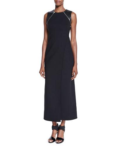 Leather-Trim Sleeveless Maxi Dress, Onyx
