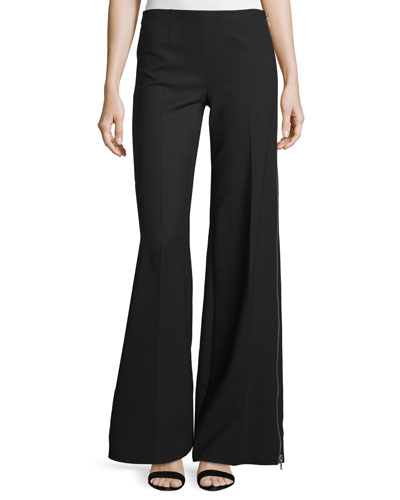 Wide-Leg Side-Zip Pants, Onyx