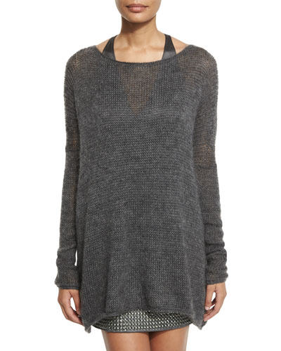 Oversized Knit Pullover Sweater, Charcoal