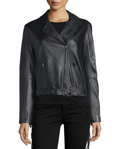 Lamb Leather Lace Up Fringe Jacket, Black