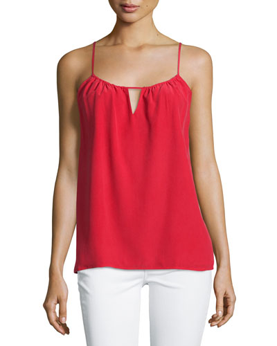 Keyhole-Front Silk Tank, Red