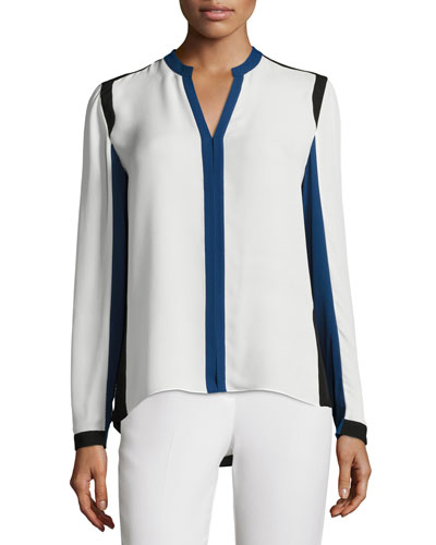 Layne Long-Sleeve Colorblocked Silk Blouse, Antique