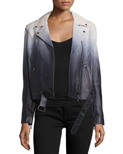 Lamb Leather Ombre Jacket, Swan/Black