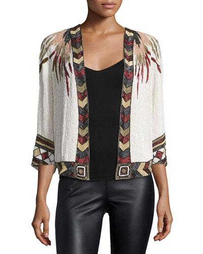 Golden Eagle Embellished Silk Jacket, Multi