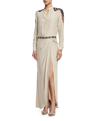 Long-Sleeve Button-Front Embellished Silk Gown, Buff